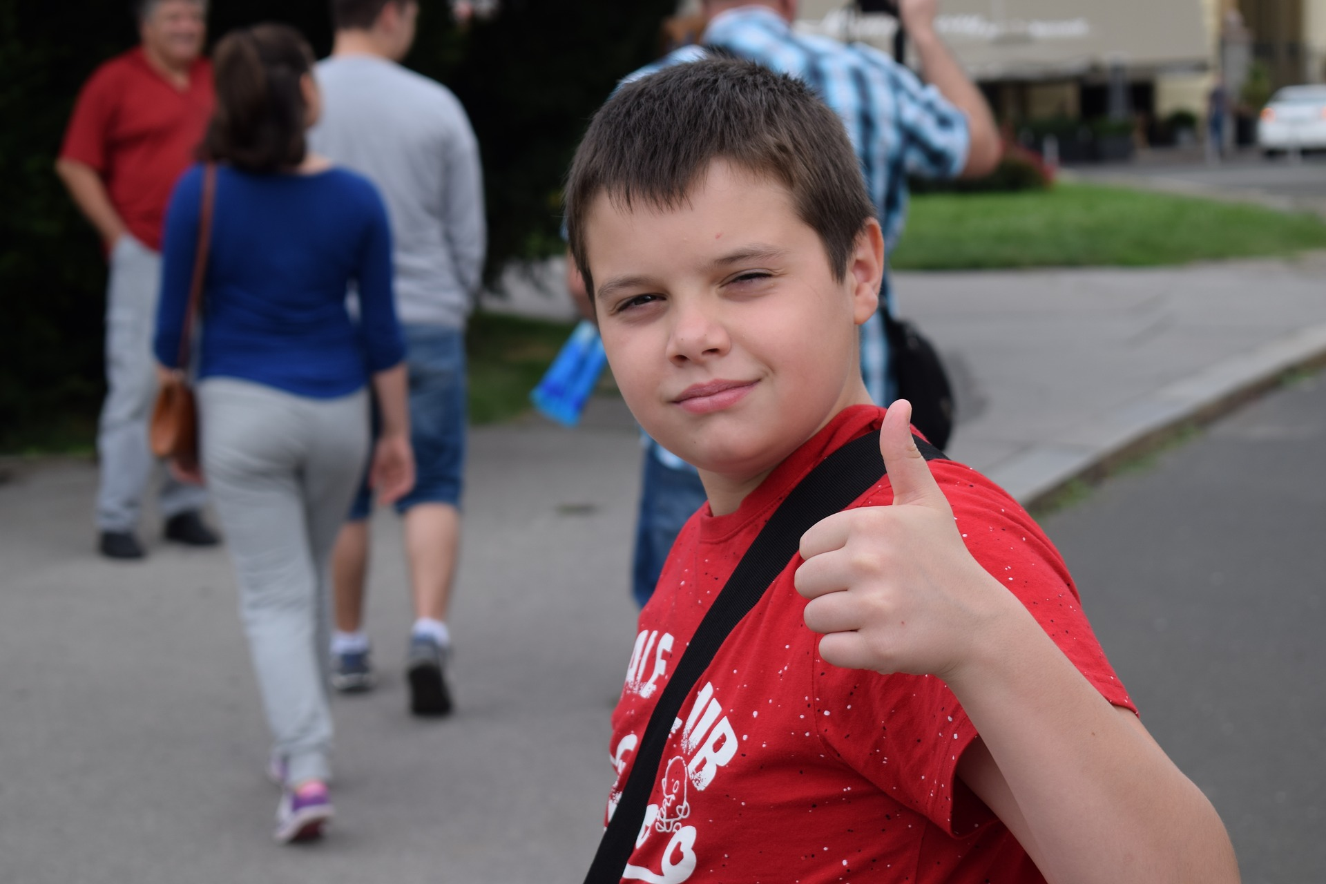 Boy with thumbs up