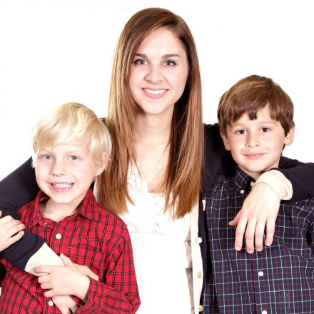 Woman with two boys