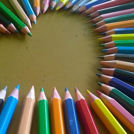 colored pencils in heart shape