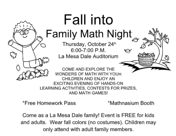 Family Math Night Information