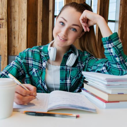 Girl doing book work