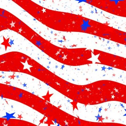 US Flag with confetti