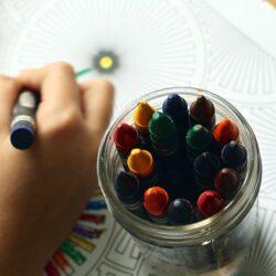 jar with crayons