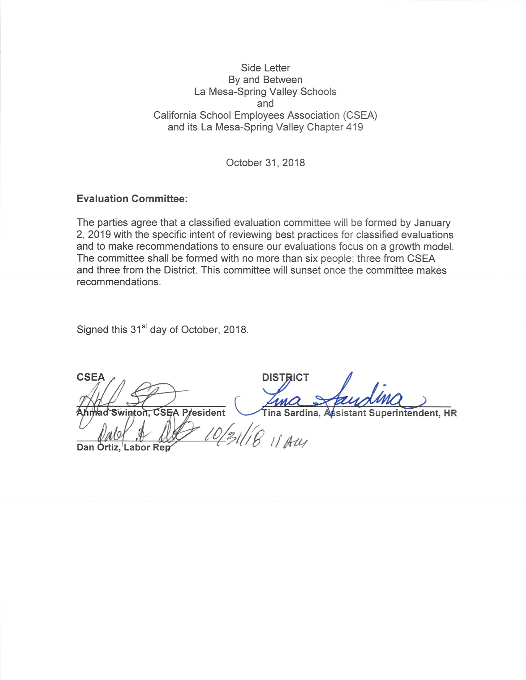 CSEA Side Letter: Classified Evaluation Committee