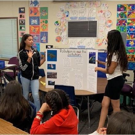 Students making presentation