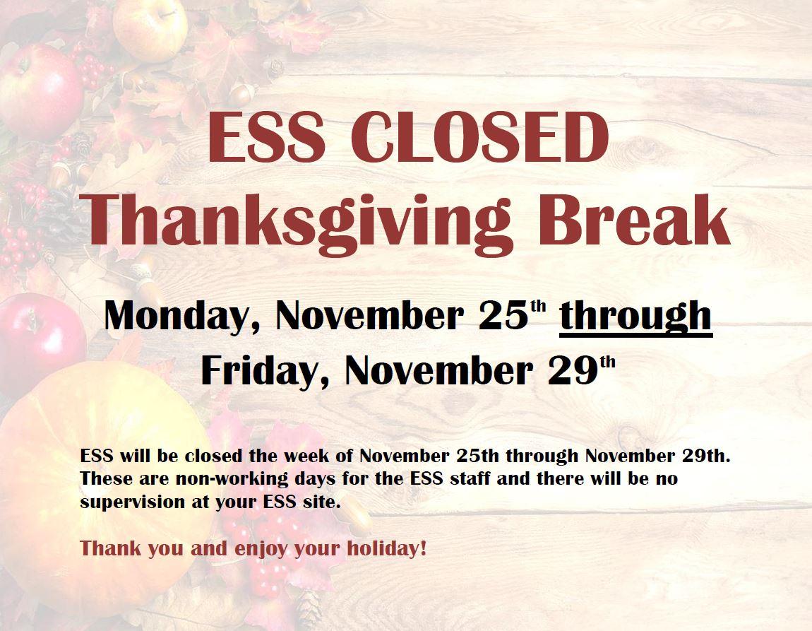 ESS Closed Thanksgiving Break