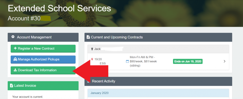 Image of ESS account page for tax services download