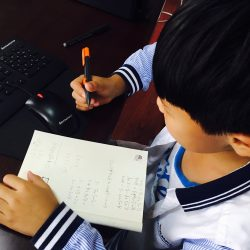 Boy at computer taking notes