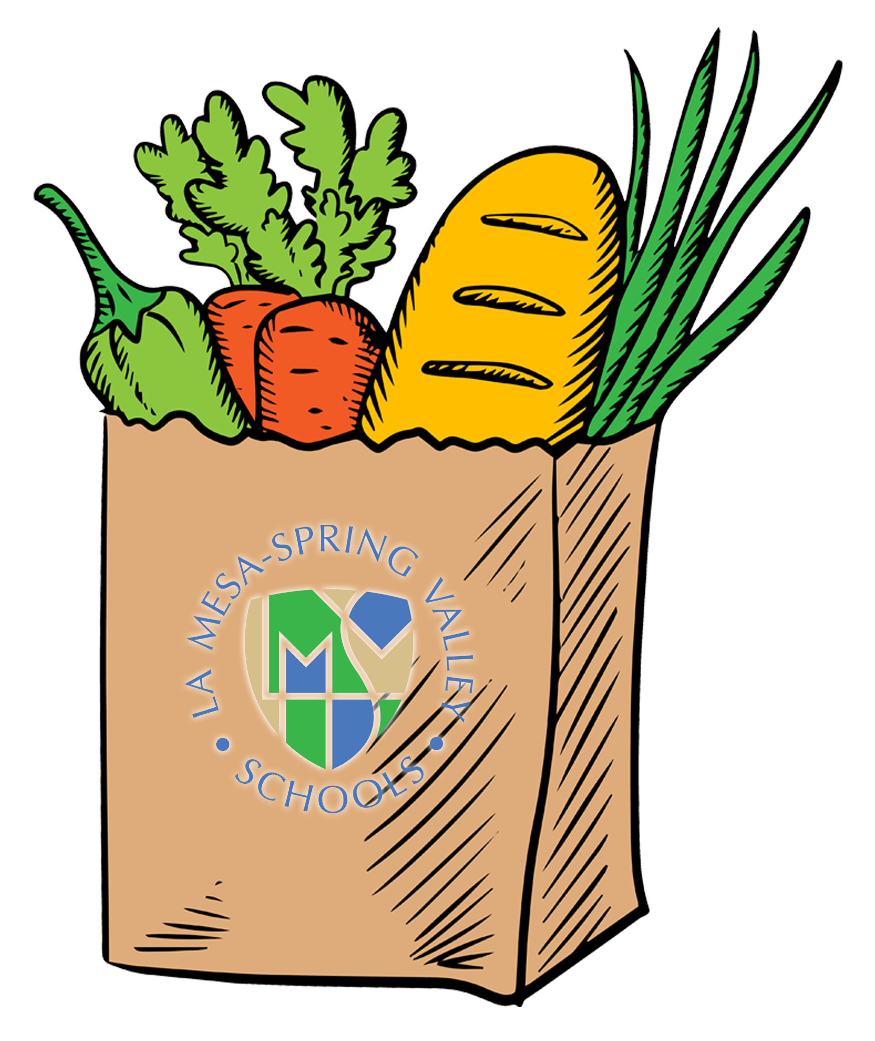 Grocery Bag with Vegetables and Bread loaf