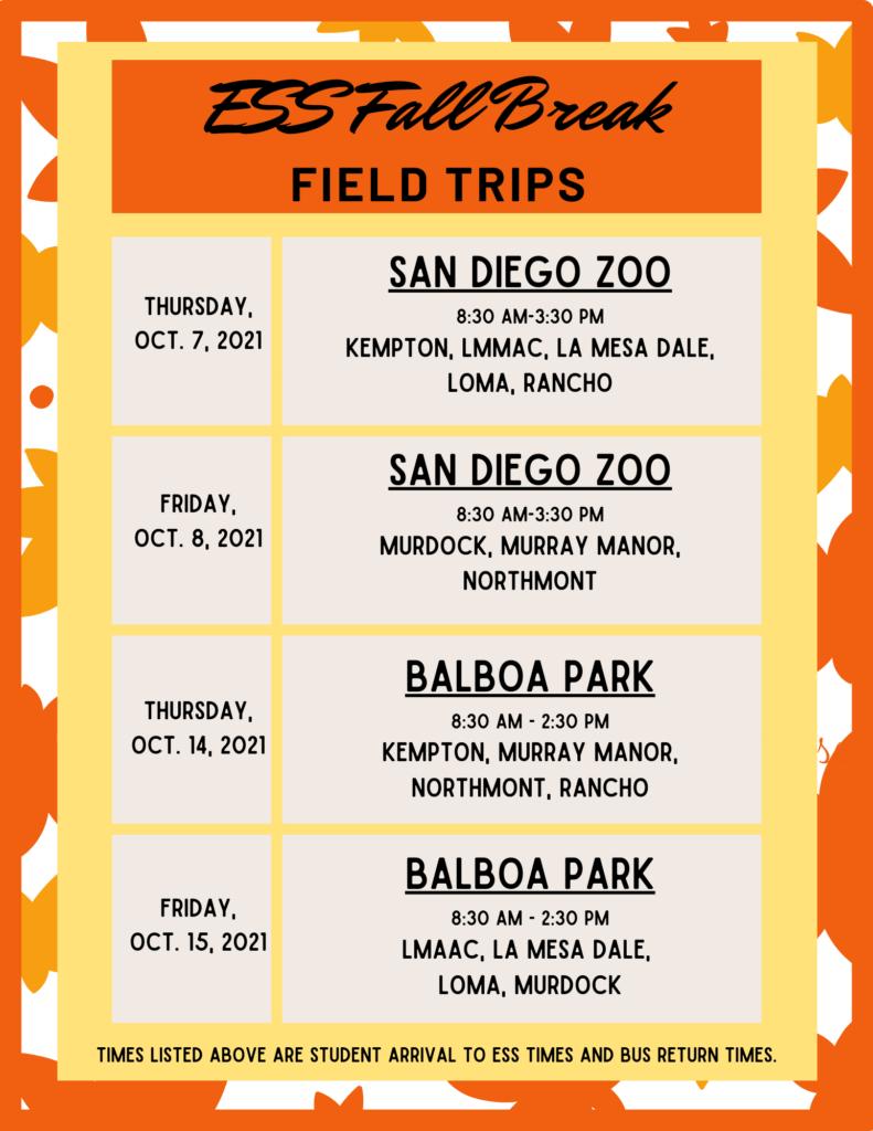 Fall Break Field Trips